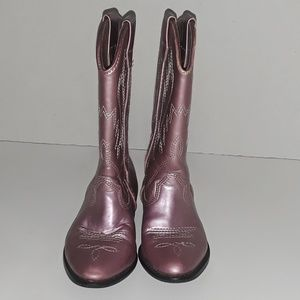 Nordstrom Girls Kid Mettalic Pink Cowboy Boots